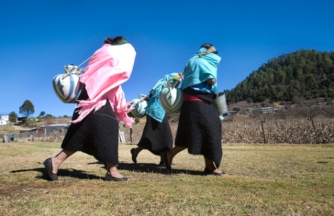 Indigenous women hauling water in Chiapas, Mexico