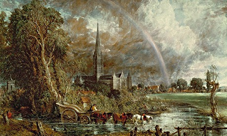 Salisbury Cathedral From the Meadows, 1831 (oil on canvas) (see 188984-188985 for details) by Consta