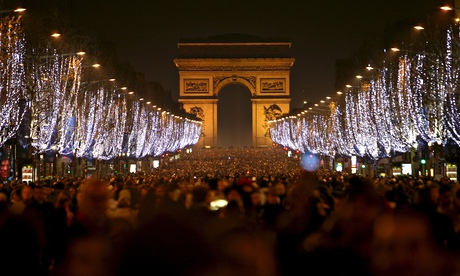 New Year's celebration on the Champs-Elysées