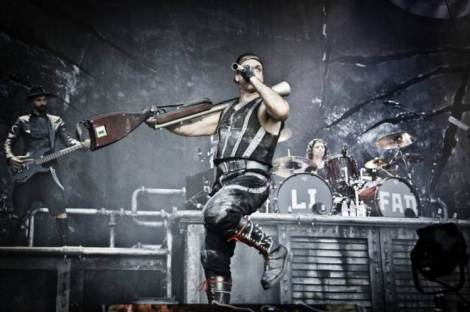 The German industrial metal band Rammstein performs a live concert at Copenhagen Live 2010 at Ti¯ren. Here the band?s characteristic vocalist Till Lindemann is pictured live on stage. Denmark 02/06 2010.