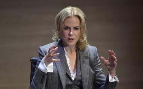 Australian actress Nicole Kidman speaks at the Women in the World summit in London, Britain, October 9, 2015. REUTERS/Toby Melville